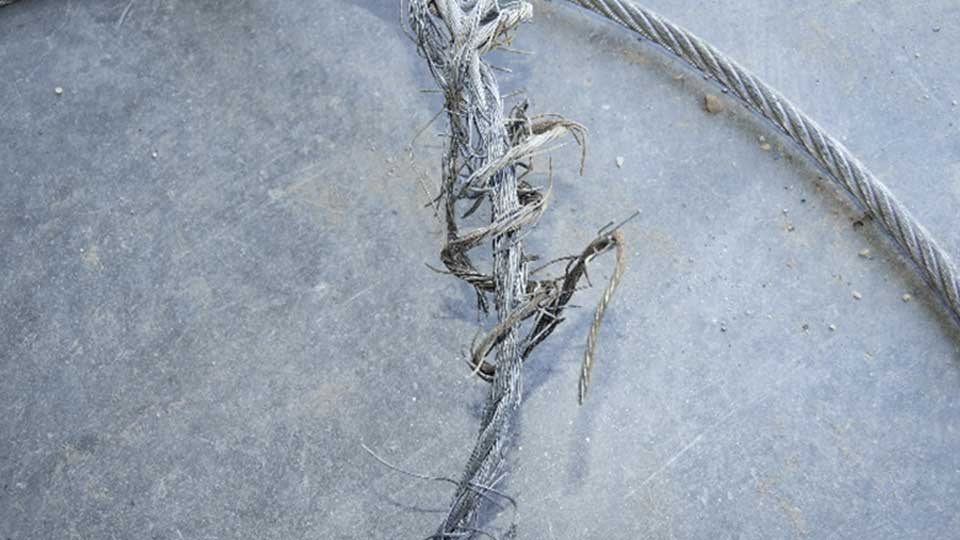 Frayed garage door cables